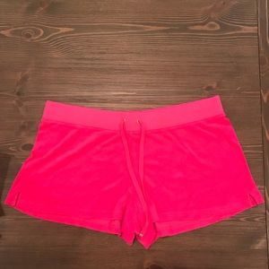 Juicy Couture hot pink terry cloth lounge shorts